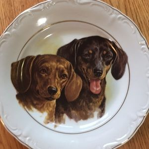 😀Vintage collectors plate dogs Crown Regent China